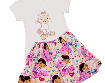 Girl outfit doc mcstuffins  outfit, Lambie  shirt skirt, toddler outfit baby outfit   Disney outfit, girl dress toddler age name girl dress