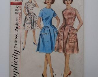 Vintage Size 14 SIMPLICITY 5874 Dress Sewing Pattern, Bust 34, 1960's Dress Pattern
