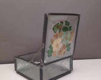 Vintage Handmade Glass Mirrored Jewelry Box  with Pressed Flowers with Chain Hinge