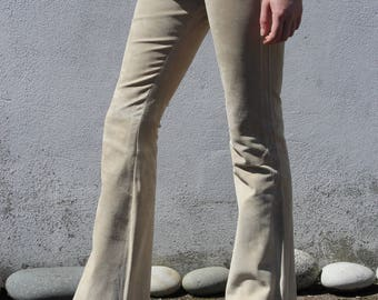 vintage *real suede* off-white flares from FULL CIRCLE