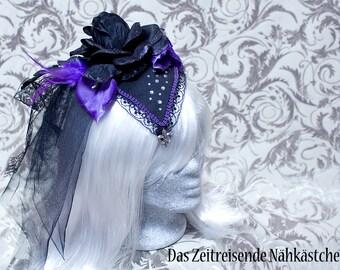 Fascinator, Headdress, black and purple , Gothic, Steampunk, Lolita