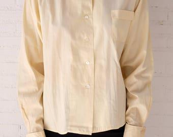 Stylish 1960s Vanilla Custard Cotton Shirt with Cufflinks