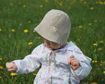 Natural Linen Sunbonnet, Bonnet, Undyed Color Bonnet, Newborn Sunhat, Sunhat, Linen Sunhat, Baby Bonnet, Retro Bonnet, Washed linen bonnet