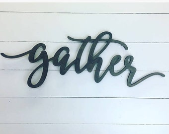 Gather Wooden Wall Word Sign, Wooden Word, Wooden Words, Wooden Wood Art,