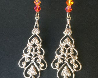 Silver ornate connectors, swarovski crystals earrings
