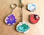 Pokemon-inspired wooden charms - keyrings - gengar, bulbasaur, squirtle, charmander