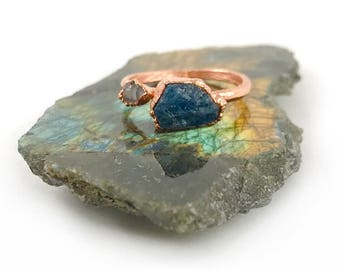 Raw Stone Ring, Blue Apatite and Herkimer Diamond Ring, Raw Crystal, Electroformed Ring, Rose Gold, Blue Gemstone, Healing, Copper Ring