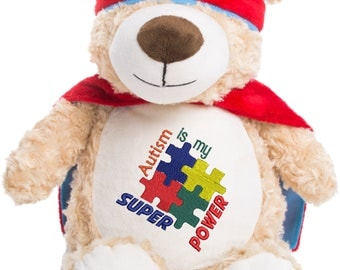 Cubbies Hero Bear Autism Super Power Reader Personalized & Embroidered Monogrammed Stuffed Animal Gift
