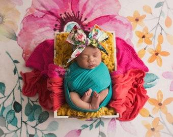 GARDEN FLORAL Gorgeous Wrap- headwrap; fabric head wrap; floral head wrap; newborn headband; baby headband; toddler headband