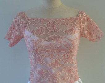 Top lace blouse cocktail Calais lace ivory, pink, short sleeve cover-up pink bridal lace sleeves top short girl