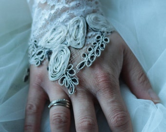 Lace glove, lace wedding cufflinks, cuff lace ivory wedding cuff ivory embroidered bridal lace, evening