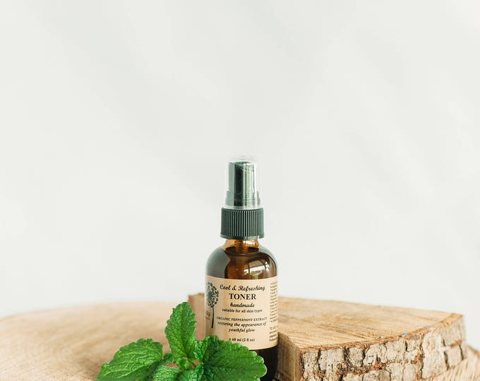 Toner, Peppermint, Cool & Refreshing, Organic Ingredients, All Skin Types, Vegan, Gluten Free