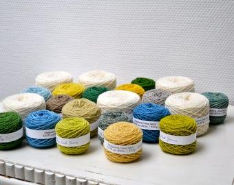 Naturally Dyed Fylgje Knitting Kit - green, blue, yellow