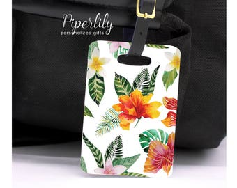 Luggage Tag Hawaiian Floral Bag Tag Wedding Gift Honeymoon Beach Tropical Luggage Tags Personalized Luggage Tag Custom Bag Tag Bridal Shower