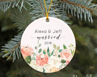 Our First Christmas Married Ornament Our First Christmas Ornament Wedding Christmas Ornament Personalized Wedding Gift Peach Blush Flowers