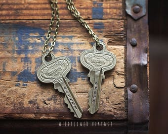 Ornate Vintage Key Necklace | Hand Stamped Repurposed Inspirational Gifts for her Unisex Jewelry