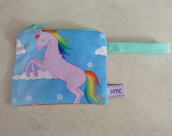 Mini zippered bag.  Purple Unicorn print. 12cm x 10cm. Fully lined and washable. Ideal for kids lunch money.