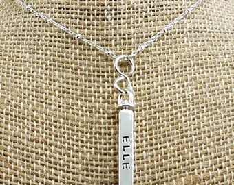 4-Sided Swivel Necklace; Sterling Silver; Personalize; Custom Charm Necklace