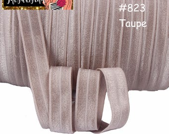 """5/8"""" inch Taupe light Brown Ash Brown #823 FOE Fold Over Elastic - Solid Color - By the Yard- Shiny DIY For Headband"""