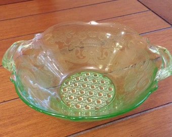 Lancaster Green Depression Glass Bowl with Handles in Debra pattern