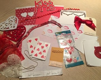 "Journal, Scrapbook, Junk Journal Accessory Kit ""VALENTINE"" Kiss Me (28 Pieces)"
