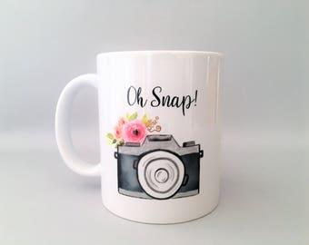 Oh Snap Mug, Oh Snap Camera Mug, Oh Snap, Camera Mug, Camera Mugs, Photographer Mug, Photographer Gift, Photography Gift, Wedding Gift