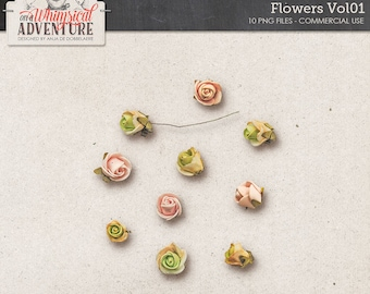 Vintage Foam Flowers, Digital Miniature Roses, Instant Download, Commercial Use OK, Fairytale, Romantic or Wedding Themed Kits, Rose Heads