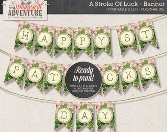 Spring Garland Bunting, Printable Party Banner for St Patrick's Day, Instant Download, Digital Collage Sheet, Lucky Clover, Emerald Green