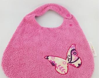 Pink bib patterns butterflies sponge for girl