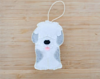 Handmade Felt Dog Ornament, Decorative Felt Animal Ornament, Felt Dog, Nursery Decoration, Home Decor, Sheep Dog, Puppy