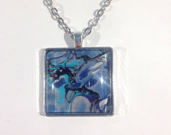 Pendant necklace, marbled art under glass