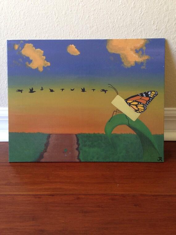 Landschaftsmalerei surrealismus  Fantasy-Schmetterling-Kunst Schmetterlings-Wand-Kunst