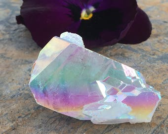 Double-terminated Included ANGEL AURA QUARTZ Crystal Point, Opal Pearl Aurora Crystals, healing stones and minerals, Grounding, McEarl Avant