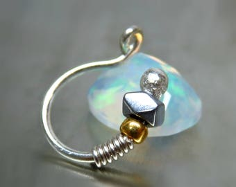 Sterling Silver Fake Nose Ring - Clip On Nose Ring - Faux Nose Ring - 001