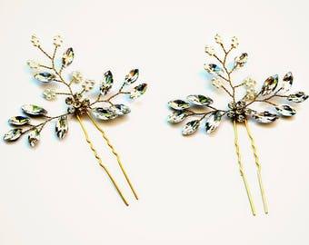 SET | 2  Gold Leaf & Branch Hairpins Bridal Rhinestone Leaf Hairpins | Bridal Vine Hairpins | Woodland Leaf Hairpins | Bibijoux