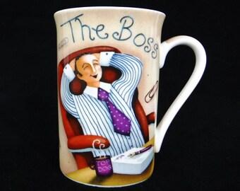 Boss Mug/Ceramic Mug/Coffee Cup/Office Desk Pen-Pencil Holder/Boss Man/Gift For Boss/Kent Pottery/Vintage