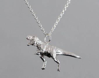 Sterling Silver 3D T-Rex Pendant - Jurassic Park / Jurassic World Inspired