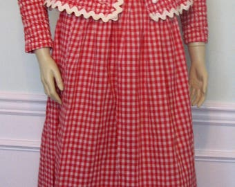 Vintage Costume Red Checks Peck and Peck Outfit Quilted Top Long Skirt Red and White Picnic