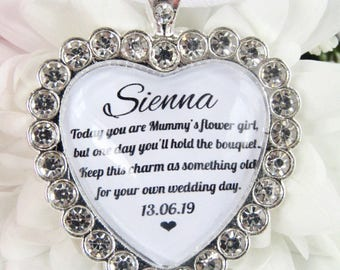 Mummys Flower Girl Something Old Personalised Gift Bouquet Charm with Sparkling Diamantés