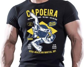 Capoeira. Afro - Brazilian Martial Art. Men's black cotton T-shirt.