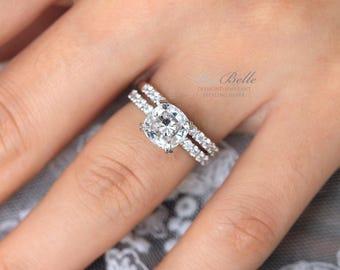 3.60 ct.tw Bridal Set Ring-Cushion Cut Diamond Simulants-Engagement Ring-Eternity Band Ring-Wedding Band Ring-Sterling Silver [9113-2]