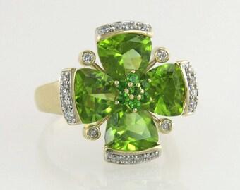 Estate 14K Yellow Gold 8.34ct Peridot & Genuine Diamond Dinner Ring