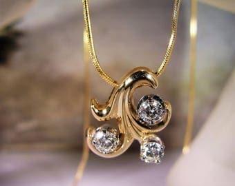 14K Necklace, Fluer-De-Lis Necklace, 14K Gold Diamond Necklace, Diamond Necklace, Custom Designed Necklace, Vintage Necklace – Fine Jewelry