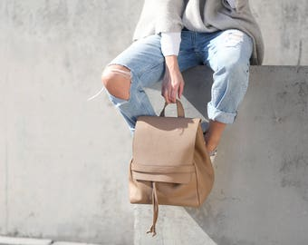 Minimal Leather Backpack, cappuccino leather backpack, camel leather, leather backpack for women