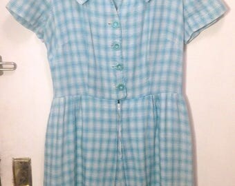Vintage 1950s blue white plaid jumpsuit 50s romper playsuit short sleeves casual day summer shirtwaist retro pinup vlv rockabilly L 30
