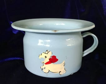 1920's Enamelware Scottish or West Highland Terrier Child's Chamber Pot