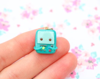 Adorable BMO Charm, Adventure Time, Handmade Polymer Clay Miniature