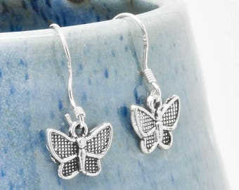 Butterfly Earrings, Silver Earring, Butterfly Jewelry, Charm Earrings, Bridesmaid Gift, Animal Earring, Bridesmaid Jewelry, Bridesmaid Gift