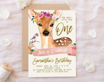 Our Little Deer Invite Woodland Birthday Invitation Girl Birthday Invite Floral Watercolor First Birthday Boho Woodland Animals PRINTABLE