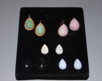 Kenneth J. Lane Interchangeable Earrings with Gold or Silver Setting Magnetic KJL Pierced Earrings